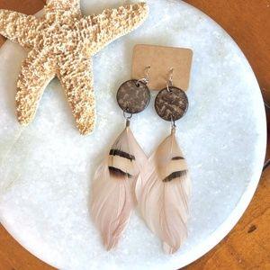 NWOT {HANDMADE} Boho Genuine Feather Earrings
